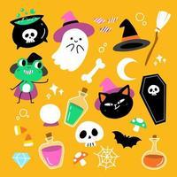 Conjunto de personagens fofinhos e assustadores de halloween