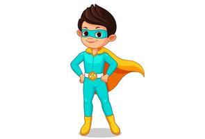 pequeno super-herói criança desenho animado vetor