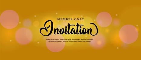design de modelo de cartão de convite bokeh dourado