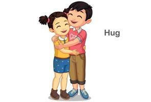 crianças se abraçando vetor