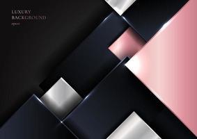 quadrados sobrepostos geométricos abstratos em rosa e prata brilhantes vetor