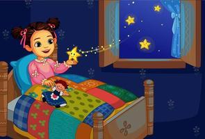 menina na cama brincando com estrela cintilante vetor
