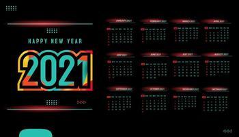 uma página, design de modelo de calendário 2021 vetor