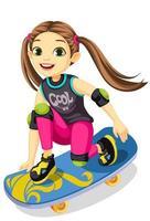 menina bonitinha em um skate vetor