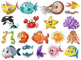 grande conjunto de criaturas marinhas em fundo branco vetor