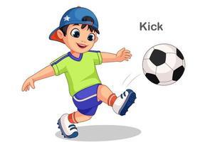 menino bonito chutando bola de futebol