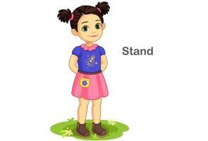linda garota em pose de pé vetor
