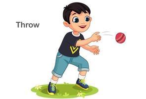 menino bonito jogando uma bola vetor