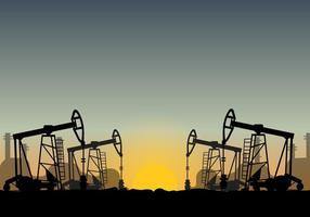 Campo de petróleo sobre o vetor do por do sol
