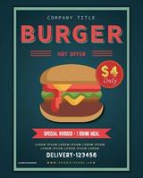 modelo de pôster de hambúrguer fast food vetor