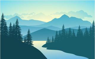 floresta de montanha ao nascer do sol vetor