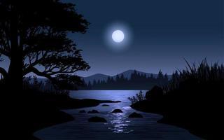 cena noturna com lua sobre paisagem de rio vetor