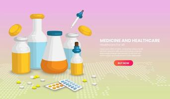 diferentes frascos médicos e pílulas