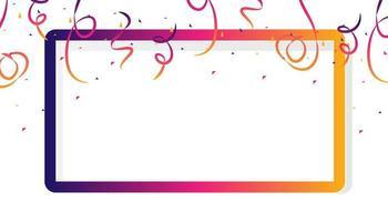 modelo de quadro de celebração com fitas de confete vetor