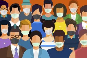 pessoas mascaram evitando covid-19 vetor