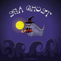 desenho de fantasma do mar de bruxa vetor