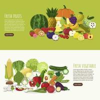 desenho de banner frutas e vegetais vetor