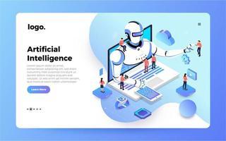 conceito de página de destino de inteligência artificial vetor