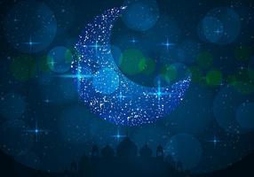 Silhueta da mesquita com céu azul com lua linda vetor