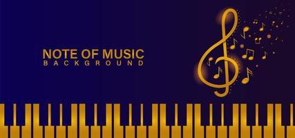 piano dourado com notas musicais em azul vetor