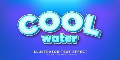 design de efeito de texto de água fria vetor