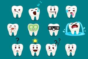 conjunto de emojis de dente fofos vetor