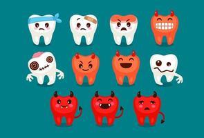 conjunto de emojis de dente fofos e diabólicos vetor