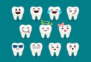 conjunto de emoji e emoticons de dente fofos e engraçados vetor