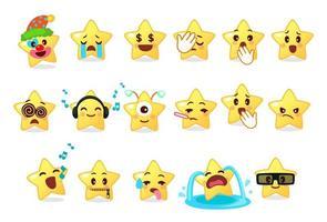 coleção de emoticons diferentes da estrela fofa vetor