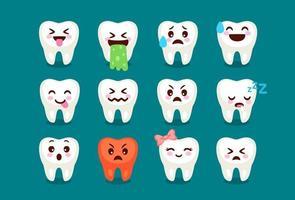 conjunto de expressões de emoji de dente fofo vetor
