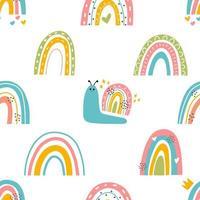 Caracóis bonitos com arco-íris padrão uniforme vetor