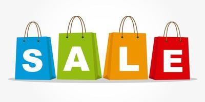 sacolas de compras com texto de venda vetor
