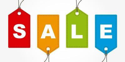 etiquetas de compras com texto de venda vetor