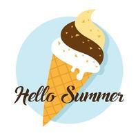 olá verão e sorvete vetor