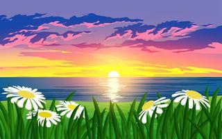 lindas flores ao pôr do sol sobre o oceano vetor