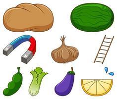 grande conjunto de diferentes alimentos e outros itens em branco vetor