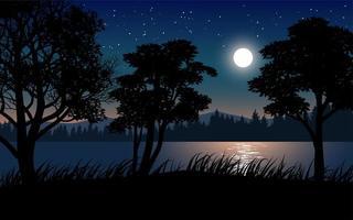bela noite calma com lua sobre o lago vetor
