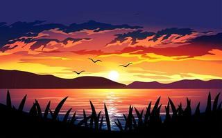 pôr do sol dramático sobre o lago vetor