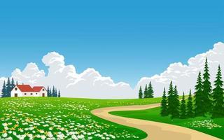 campo com fazenda perto do caminho vetor
