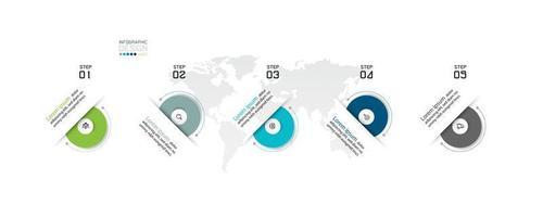 design de infográfico passo a passo circular vetor