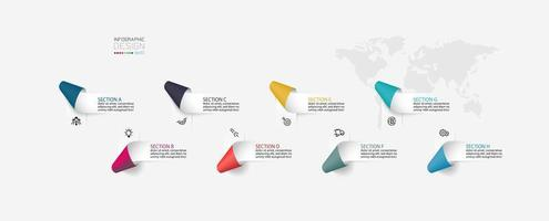 infográficos de rótulos de fita dobrada vetor