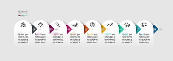 semicírculo com design de infográficos de seta vetor