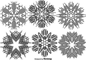 Conjunto de flocos de neve pixelados vetores