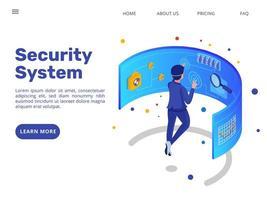 design isométrico da página de destino do sistema de segurança