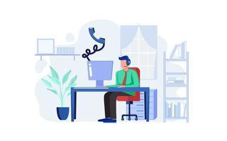 conceito de trabalhador de suporte ao cliente em casa vetor