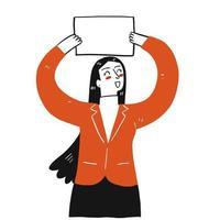 mulher feliz segurando um cartaz em branco