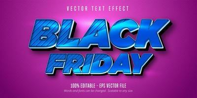 efeito de texto editável de sexta-feira azul metálico preto
