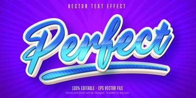 efeito de texto editável de estilo cartoon perfeito listrado em azul vetor