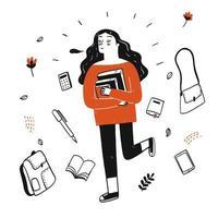 estudante segurando livros vetor