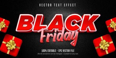 efeito de texto editável preto e vermelho de sexta-feira